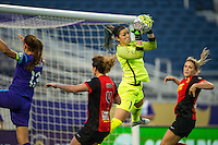 Orlando, Florida - Sunday, May 14, 2016: Western New York Flash goalkeeper Sabrina D'Angelo (1) makes a first half save during a National Women's Soccer League match between Orlando Pride and New York Flash at Camping World Stadium.