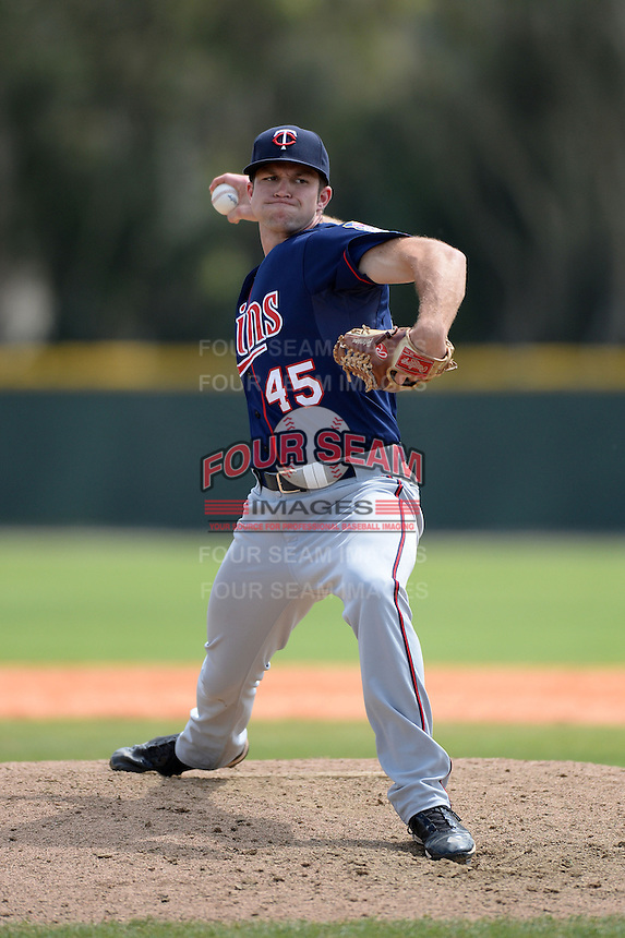 Minnesota Twins pitcher Brandon Peterson (45) during a minor league spring training game against the Baltimore Orioles on March 20, 2014 at the Buck O'Neil Complex in Sarasota, Florida.  (Mike Janes/Four Seam Images)