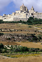 Mdina, Malta. Hilltop, City Walls, Church, Terraced Agricultural Fields