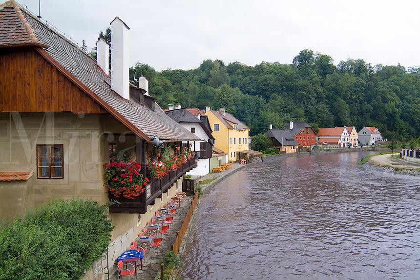 Cottages on Vitava River in Cesky Krumlov Czech Republic