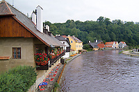 Cottages on Vitava River in Cesky Krumlov Czech Republic