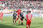 Kopüfballduell Niklas Kastenhofer (3,HFC) gegen StefanKutschke (30,FCI) beim Spiel in der 3. Liga, Hallescher FC - FC Ingolstadt 04.<br /> <br /> Foto © PIX-Sportfotos *** Foto ist honorarpflichtig! *** Auf Anfrage in hoeherer Qualitaet/Aufloesung. Belegexemplar erbeten. Veroeffentlichung ausschliesslich fuer journalistisch-publizistische Zwecke. For editorial use only. DFL regulations prohibit any use of photographs as image sequences and/or quasi-video.