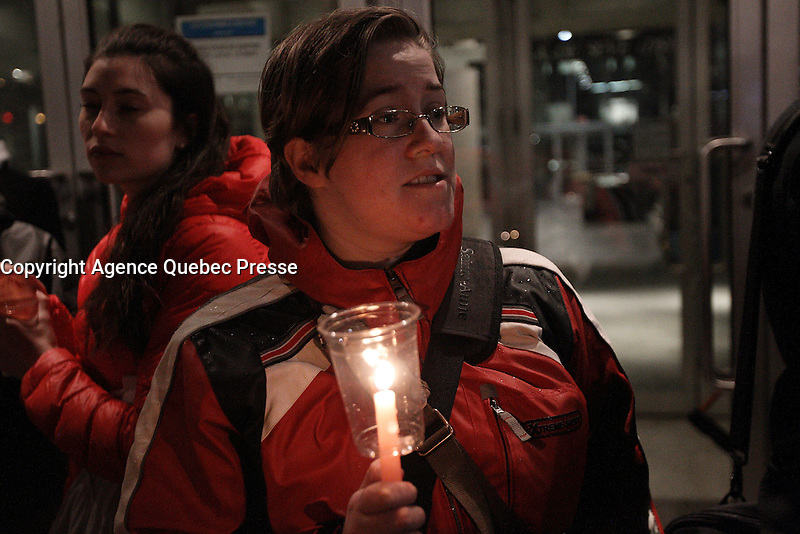 FILE PHOTO - Peacefull demonstration at UQAM (Universite du Quebec A Montreal), April 9, 2015.