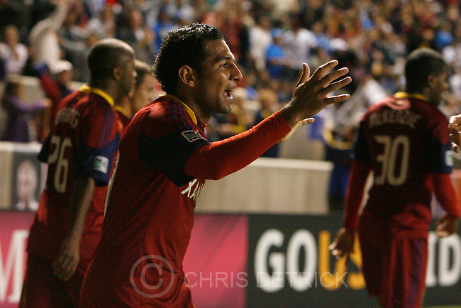 Chris Detrick  |  The Salt Lake Tribune .Real Salt Lake forward Paulo Araujo Junior #23 celebrates after scoring a goal during the first half of the game at Rio Tinto Stadium Tuesday October 19, 2010.  Real Salt Lake is winning the game 1-0.