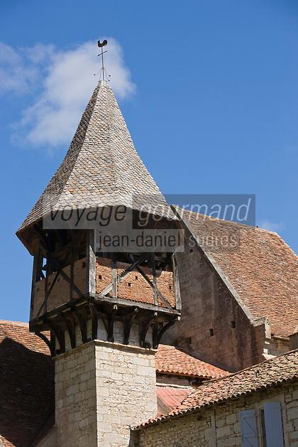 Europe/France/Midi-Pyrénées/46/Lot/Espagnac-Sainte-Eulalie: l'église Notre-Dame-de-Val-Paradis- le clocher