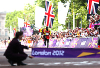 12.08.2012. London, England. Stephen Kiprotich of Uganda finishes as the winner in The mall in the mens  Marathon Competition  London 2012 Olympic Games Stephen Kiprotich of Uganda Won Gold Medal