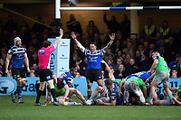 Bath Rugby players celebrate as Kahn Fotuali'i wins a late penalty for his side. Gallagher Premiership match, between Bath Rugby and Harlequins on March 2, 2019 at the Recreation Ground in Bath, England. Photo by: Patrick Khachfe / Onside Images