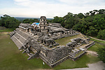 Restoration work on the Palace in the ruins of the Mayan city of Palenque,  Palenque National Park, Chiapas, Mexico.  A UNESCO World Heritage Site.