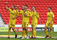 Fleetwood Town's Ched Evans (9) is mobbed after scoring his side's first goal<br /> Photographer David Shipman/CameraSport<br /> <br /> The EFL Sky Bet League One - Doncaster Rovers v Fleetwood Town - Saturday 6th October 2018 - Keepmoat Stadium - Doncaster<br /> <br /> World Copyright © 2018 CameraSport. All rights reserved. 43 Linden Ave. Countesthorpe. Leicester. England. LE8 5PG - Tel: +44 (0) 116 277 4147 - admin@camerasport.com - www.camerasport.com
