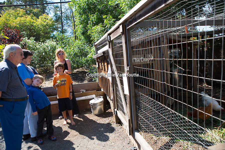 Lee Hartley, middle in black, talks about her family's Los Altos Hills chicken coop during the 2nd Annual Silicon Valley Tour de Coop.