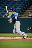 Trenton Thunder first baseman Billy Fleming (15) follows through on a swing during the second game of a doubleheader against the Bowie Baysox on June 13, 2018 at Prince George's Stadium in Bowie, Maryland.  Bowie defeated Trenton 10-1.  (Mike Janes/Four Seam Images)