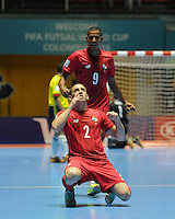 CALI -COLOMBIA-16-09-2016: Josue Brown jugador de Panama celebra después de anotaar un gol a Colombia durante partido del grupo A de la Copa Mundial de Futsal de la FIFA Colombia 2016 jugado en el Coliseo del Pueblo en Cali, Colombia. /  Josue Brown player of Panama celebrates after scoring a goal to Colombia during match of the group A of the FIFA Futsal World Cup Colombia 2016 played at Metropolitan Coliseo del Pueblo in Cali, Colombia. Photo: VizzorImage/ NR / Cont