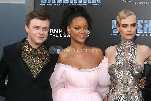 HOLLYWOOD, CA - JULY 17: Dane DeHaan, Rihanna and Cara Delevingne at the Valerian And The City Of A Thousand Planets World Premiere at the TCL Chinese Theater in Hollywood, California on July 17, 2017. Credit: Faye Sadou/MediaPunch