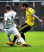 Tom Doyle (right) in action the A-league and ISPS Handa Premiership football preseason match between Wellington Phoenix and Team Wellington at Martin Luckie Park in Wellington, New Zealand on Saturday, 30 September 2017. Photo: Dave Lintott / lintottphoto.co.nz