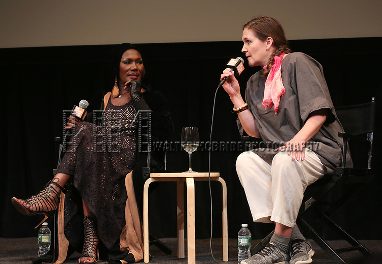 Grace Jones and Sophie Fiennes appears in person after a screening of her film 'Grace Jones: Floodlight and Bami' directed by Sophie Fiennes at the Walter Reade Theatre on April 14, 2018 in New York City