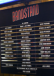 Lobby cast board for the Broadway Opening Night Curtain Call Bows of 'Bandstand' at the Bernard B. Jacobs Theatre on 4/26/2017 in New York City.