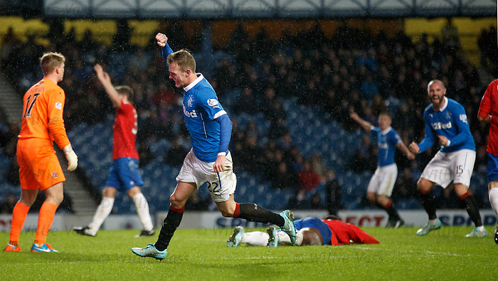 Dean Shiels scores for Rangers as his shot takes a deflection from Nat Wedderburn