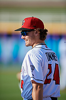 Lansing Lugnuts Hagen Danner (24) during warmups before a Midwest League game against the Burlington Bees on July 18, 2019 at Cooley Law School Stadium in Lansing, Michigan.  Lansing defeated Burlington 5-4.  (Mike Janes/Four Seam Images)