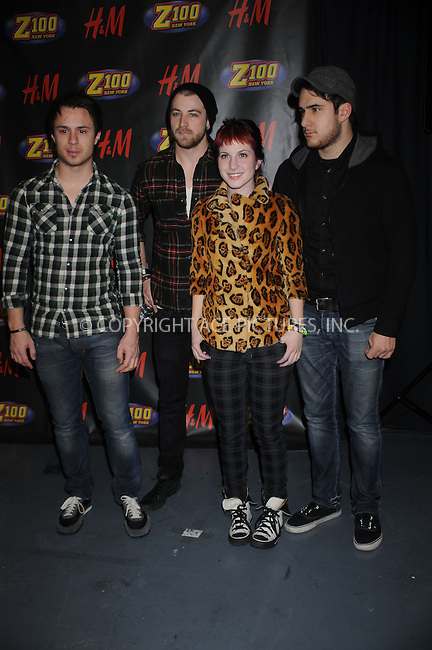 WWW.ACEPIXS.COM . . . . . ....December 12 2008, New York City....(L-R) Musicians Josh Farro, Jeremy Davis, Hayley Williams and Zac Farro of Paramore in the press room at Z100's Jingle Ball at Madison Square Garden on December 12, 2008 in New York City.....Please byline: KRISTIN CALLAHAN - ACEPIXS.COM.. . . . . . ..Ace Pictures, Inc:  ..tel: (212) 243 8787 or (646) 769 0430..e-mail: info@acepixs.com..web: http://www.acepixs.com