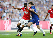 19th May 2018, Wembley Stadium, London, England; FA Cup Final football, Chelsea versus Manchester United; Marco Alonso of Chelsea puts pressure on Marcus Rashford of Manchester United