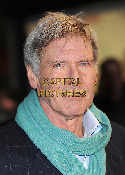 HARRISON FORD .UK Premiere of 'Morning Glory' at the Empire, Leicester Square, London, England, UK, January 11th 2011..portrait headshot suit green scarf black white shirt checked jacket blue .CAP/BEL.©Tom Belcher/Capital Pictures.