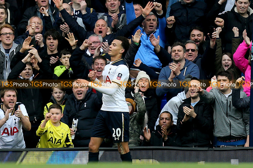 Dele Alli of Tottenham Hotspur celebrates scoring the fourth goal during Tottenham Hotspur vs Millwall, Emirates FA Cup Football at White Hart Lane on 12th March 2017