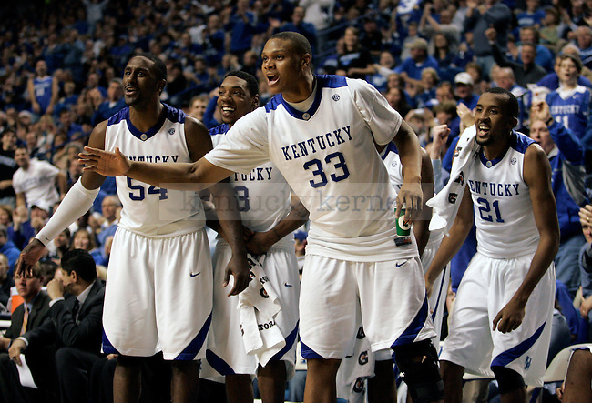 UK men's basketball players cheer on the bench in the second half of UK's 104-61 win over Hartford at Rupp Arena on Monday, Dec. 29, 2009. Photo by Britney McIntosh | Staff