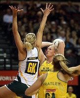25.10.2012 Australia's Caitlin Thwaites in action during the England v Australia netball test match as part of the Quad Series played at the TSB Arena Wellington. Mandatory Photo Credit ©Michael Bradley.