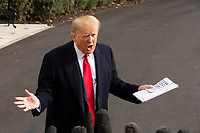 United States President Donald J. Trump speaks to the media on the South Lawn of the White House in Washington D.C., U.S., on Wednesday, November 20, 2019, as he departs for a day trip to Austin, Texas.<br /> <br /> Credit: Stefani Reynolds / CNP/AdMedia