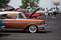 A 1957 Chevrolet Bel Air 2-Door Hardtop registered to Don and Julie Cox sits on the show field after judging at the 4th State Representative Chevy Show on Saturday, July 2, 2016, in Fort Wayne, Indiana. (Photo by James Brosher)