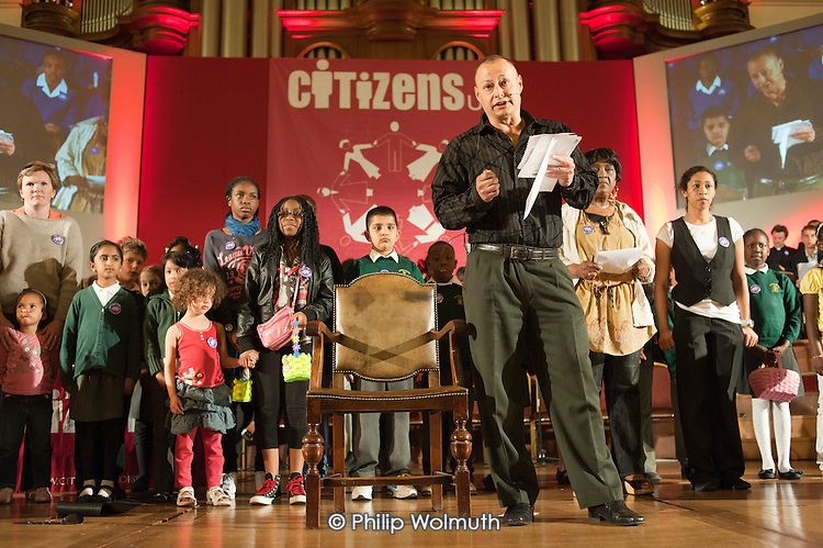 """Members of Citizens UK give personal testimony on the impact of the living wage on their own lives at a """"Day for Civil Society"""" organized by Citizens UK / London Citizens to celebrate 10 years of the Living Wage Campaign, launch a National Living Wage Foundation and call for the living wage to be adopted nationally.  Central Hall, Westminster."""