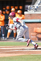 South Carolina Gamecocks center fielder TJ Hopkins (5) runs to first base during a game against the Tennessee Volunteers at Lindsey Nelson Stadium on March 18, 2017 in Knoxville, Tennessee. The Gamecocks defeated Volunteers 6-5. (Tony Farlow/Four Seam Images)
