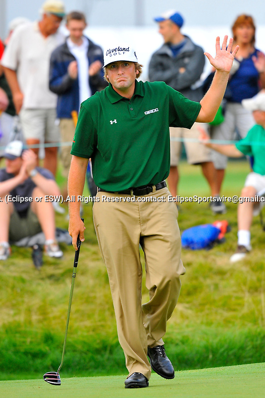29 August 2009: Steve Marino after making birdie on the 15th hole during the third round of The Barclays PGA Playoffs at Liberty National Golf Course in Jersey City, New Jersey.