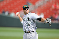 Left fielder Andrew Cain (36) of the Augusta GreenJackets warms up before a game against the Greenville Drive on Sunday, April 12, 2015, at Fluor Field at the West End in Greenville, South Carolina. Augusta won, 2-1. (Tom Priddy/Four Seam Images)