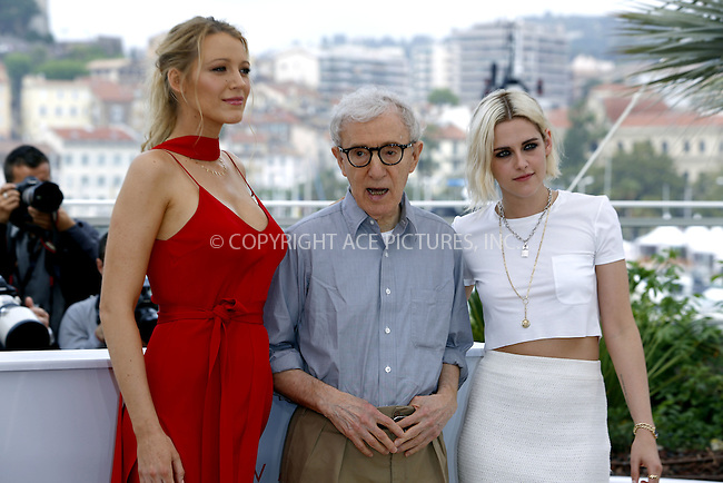 WWW.ACEPIXS.COM<br /> <br /> May 11 2016, Cannes<br /> <br /> Blake Lively (L), Woody Allen and Kristen Stewart attending the 'Cafe Society' photocall during The 69th Annual Cannes Film Festival on May 11, 2016 in Cannes, France<br /> <br /> By Line: Famous/ACE Pictures<br /> <br /> <br /> ACE Pictures, Inc.<br /> tel: 646 769 0430<br /> Email: info@acepixs.com<br /> www.acepixs.com