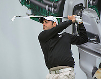 14.10.2014. The London Golf Club, Ash, England. The Volvo World Match Play Golf Championship.  Alexander Levy [FRA] tee shot on the par three eighth hole during the Pro-Am event.