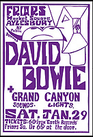 BNPS.co.uk (01202 558833)<br /> Pic: DavidStopps/BNPS<br /> <br /> The poster from the second gig that David Bowie played at the Friars club in Aylesbury in January 1972.<br /> <br /> The return of the Thin White Duke...The statue will also include a lifesize Ziggy Stardust attached to the suited Bowie of a later era.<br /> <br /> The world's first statue of David Bowie is taking shape in sculpter Andrew Sinclair's Devon studio.<br /> <br /> Ever since the music legend's death in January 2016 there has been a clamour for a fitting tribute of Bowie to be made.<br /> <br /> While his birthplace of Brixton, south London, has been cited as the most likely location for one it is actually Aylesbury in Buckinghamshire that will lay claim to having the very first statue of him.<br /> <br /> The market town was where Bowie played an experimental gig in 1971 to see if had the confidence to perform live and then a year later where his alter-ego of Ziggy Stardust was born.<br /> <br /> One half of the statue has been completed by artist Andrew Sinclair. It depicts a handsome Bowie in his 'Blue Suit' period in the 1990s.