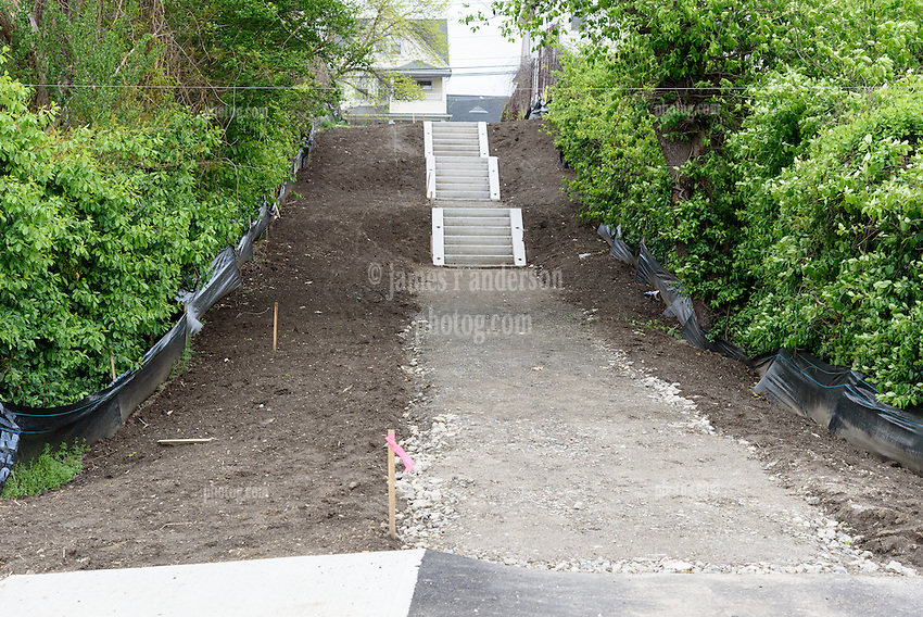 Central High School Bridgeport CT Expansion & Renovate as New. State of CT Project # 015-0174. One of 80 Photographs of Progress Submission 15, 05 May 2016 New Stair Access south of Playing Fields