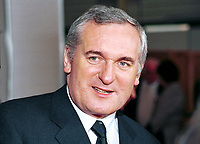 Bertie Ahern, An Taoiseach, Prime Minister,Rep of Ireland. Taken at Fianna Fail (Rep of Ireland Political Party) Ard Fheis (annual party conference) March 2000. Ref: 200003013..Copyright Image from Victor Patterson, 54 Dorchester Park, Belfast, UK, BT9 6RJ..Tel: +44 28 9066 1296.Mob: +44 7802 353836.Voicemail +44 20 8816 7153.Skype: victorpattersonbelfast.Email: victorpatterson@mac.com.Email: victorpatterson@ireland.com (back-up)..IMPORTANT: If you wish to use this image or any other of my images please go to www.victorpatterson.com and click on the Terms & Conditions. Then contact me by email or phone with the reference number(s) of the image(s) concerned.