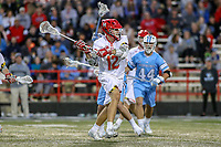 College Park, MD - April 27, 2019: Maryland Terrapins midfielder Logan Wisnauskas (12) shoots the ball during the game between John Hopkins and Maryland at  Capital One Field at Maryland Stadium in College Park, MD.  (Photo by Elliott Brown/Media Images International)