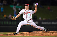 Relief pitcher Brendan Nail (10) of the Greenville Drive delivers a pitch in Game 2 of the South Atlantic League Southern Division Playoff against the Charleston RiverDogs on Friday, September 8, 2017, at Fluor Field at the West End in Greenville, South Carolina. Charleston won, 2-1, and the series is tied at one game each. (Tom Priddy/Four Seam Images)