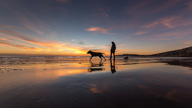 Taking the dogs for a walk along Compton Beach at Sunset.
