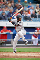 Scranton/Wilkes-Barre RailRiders second baseman Abiatal Avelino (17) at bat during a game against the Syracuse Chiefs on June 14, 2018 at NBT Bank Stadium in Syracuse, New York.  Scranton/Wilkes-Barre defeated Syracuse 9-5.  (Mike Janes/Four Seam Images)