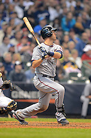 Minnesota Twins catcher Joe Mauer #7 hits a home run during a game against the Milwaukee Brewers at Miller Park on May 27, 2013 in Milwaukee, Wisconsin.  Minnesota defeated Milwaukee 6-3.  (Mike Janes/Four Seam Images)