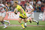 Tom Kingston of Australia runs with the ball during the match Australia vs England, the Bronze Final of Day 2 of the HSBC Singapore Rugby Sevens as part of the World Rugby HSBC World Rugby Sevens Series 2016-17 at the National Stadium on 16 April 2017 in Singapore. Photo by Victor Fraile / Power Sport Images