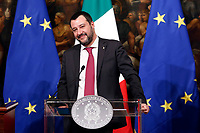 Matteo Salvini <br /> Rome January 17th 2019. Press conference of  the Italian premier and of the two vice premiers just after the Minister cabinet approved the reform of job (citizenship income) and board.<br /> Foto Samantha Zucchi Insidefoto