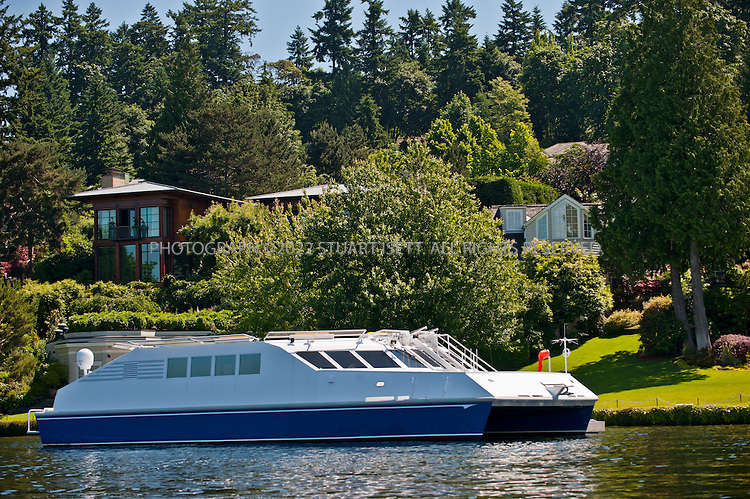 6/26/2011--Medina, WA, USA..Paul Allen's 9.6 acre multi-mansion estate/campus on Mercer Island, WASH. with it's own private floating heliport docked on Lake Washington. The property contains 4 main buildings...©2011 Stuart Isett. All rights reserved.