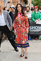 www.acepixs.com<br /> <br /> June 8 2017, New York City<br /> <br /> Actress Salma Hayek wears a bright red patterned dress as she made an appearance at The Daily Show on June 8 2017 in New York City<br /> <br /> By Line: Nancy Rivera/ACE Pictures<br /> <br /> <br /> ACE Pictures Inc<br /> Tel: 6467670430<br /> Email: info@acepixs.com<br /> www.acepixs.com