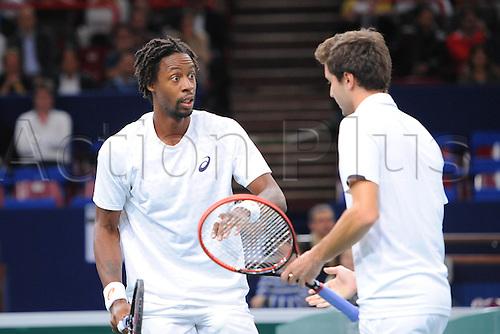 27.10.2014. Paris, France. BNP Paribas Masters Tennis tournament.  Double Gilles Simon and Gael Monfils (Fra)