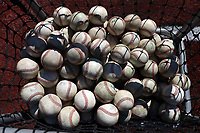ELON, NC - MARCH 1: A basket of baseballs during a game between Indiana State and Elon at Walter C. Latham Park on March 1, 2020 in Elon, North Carolina.